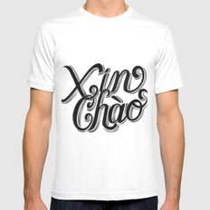 Xin Chào, Vietnam White Mens Fitted Tee SMALL