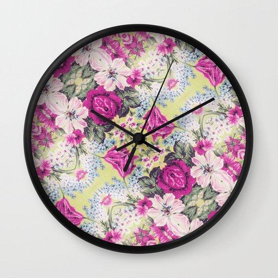 Trendy Vintage Purple Teal Floral Fashion Pattern Wall Clock