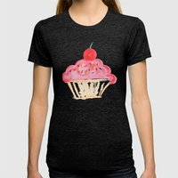 CUPCAKES Womens Fitted Tee Tri-Black SMALL