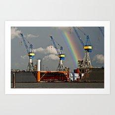 Rainbow over the port of HAMBURG Art Print