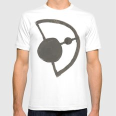 Earth and Moon White Mens Fitted Tee SMALL