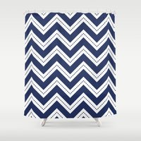 Navy Chevron Shower Curtain