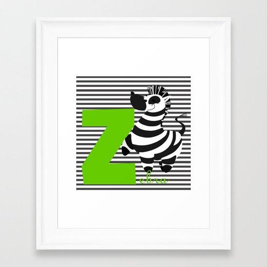z for zebra Framed Art Print