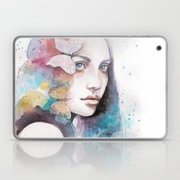 Lady With A Butterfly Laptop & iPad Skin