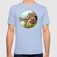 Fawn Parked in the Trees Mens Fitted Tee Tri-Blue SMALL