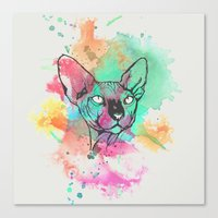 Watercolor Sphynx Canvas Print