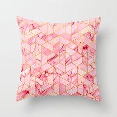 Pink Marble Hexagonal Pattern Throw Pillow