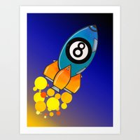 Eight Ball Rocket Art Print