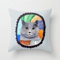 KITTY / GREY Throw Pillow