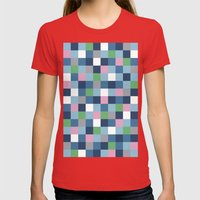 Colour Block #5 Womens Fitted Tee Red SMALL