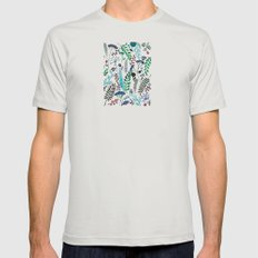 Plant pattern Mens Fitted Tee Silver SMALL