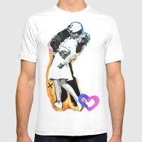 Kiss - Time Square Kiss Mens Fitted Tee White SMALL