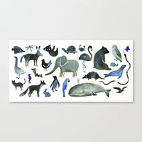 Animals In Black (and Bl… Canvas Print