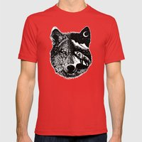 Night wolf Mens Fitted Tee Red SMALL