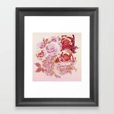 composition florale en rose Framed Art Print