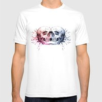 Conjoined Skull Mens Fitted Tee White SMALL