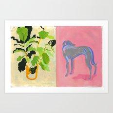 Plant and Pink dog Art Print