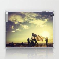 Soldiers Raising An American Flag At Sunset Laptop & iPad Skin