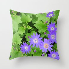 Purple flowers on leafy greens Throw Pillow