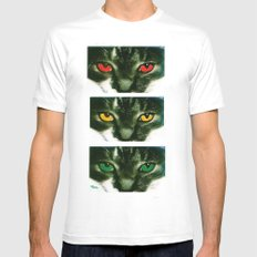CAT CROSSING Mens Fitted Tee SMALL White