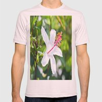 White Hibiscus Mens Fitted Tee Light Pink SMALL