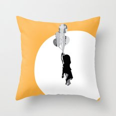 Little Girl With Balloons 2 Throw Pillow