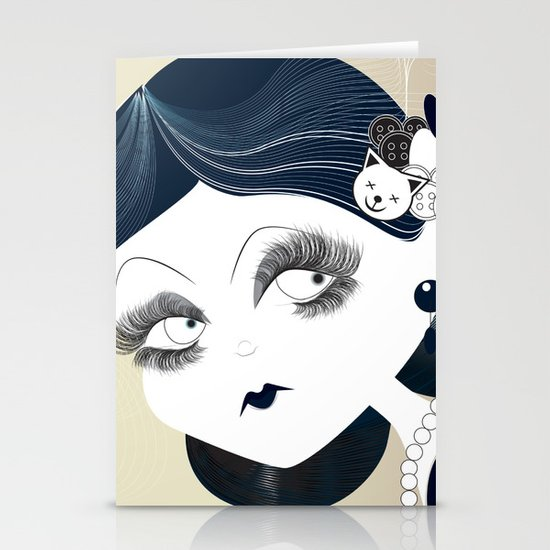Savanah Black Stationery Card