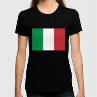 The National Flag Of Ita… Womens Fitted Tee Black SMALL