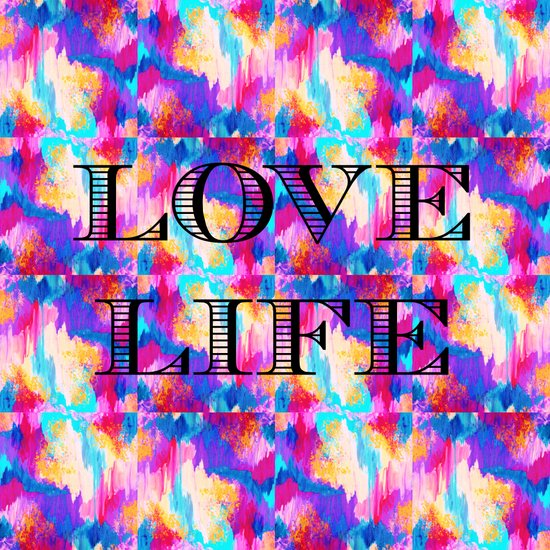 LOVE LIFE Romantic Fine Art Typography Whimsical Sweet Abstract Acrylic Ikat Painting Pink Purple Art Print