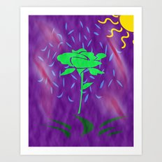 funny green rose Art Print