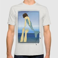 Triton tossing his mermaid daughter Mens Fitted Tee Silver SMALL