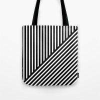 Black & White Stripes & Diagonals Tote Bag