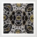 Fantasy lace abstract, white & yellow on black Art Print
