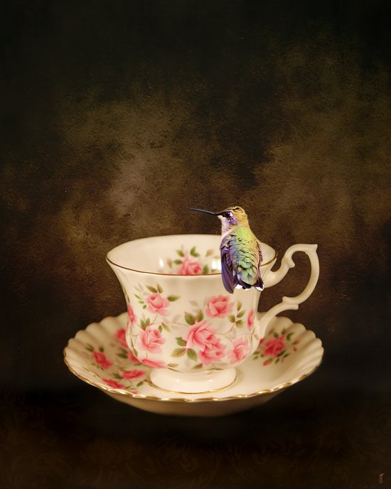 Tea Time With A Hummingbird 1 Art Print
