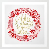coffee Art Prints featuring Coffee by Cat Coquillette