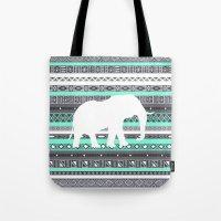Tiffany Aztec White Elephant Pattern Design Tote Bag
