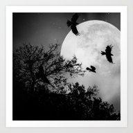 Haunting Moon & Trees Art Print