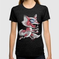 Hungry Fox Womens Fitted Tee Tri-Black SMALL