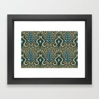 Slithering Snake Ikat Framed Art Print