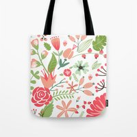 Floral pink and green pattern Tote Bag