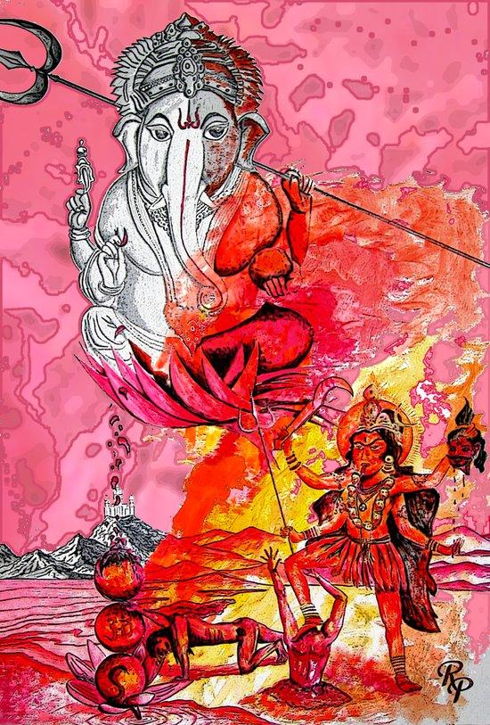 Ganesh vs Kali Art Print