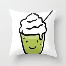 Green tea frappuccino Throw Pillow