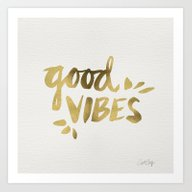 Art Print featuring Good Vibes – Gold Ink by Cat Coquillette