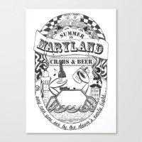 Maryland Crabs & Beer Canvas Print