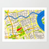 Shanghai Map Design Art Print