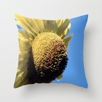 Bulging Sunflower Throw Pillow