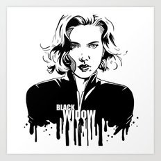 Avengers in Ink: Black Widow Art Print