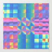 Grungy, Glitchy Gingham Canvas Print