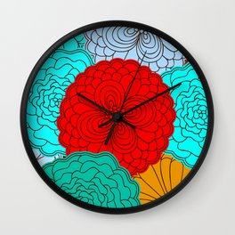 Wall Clock - Bright Flowers, pattern in red, teal, green, violet, and gold - zeldashafferdesigns