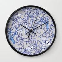 Squids of the inky ocean Wall Clock